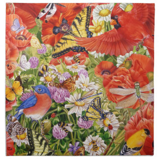Birds, Butterflies and Bees Cloth Napkins