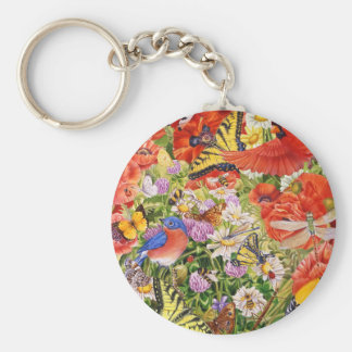 Birds, Butterflies and Bees Keychain