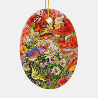 Birds, Butterflies and Bees Oval Ceramic Ornament