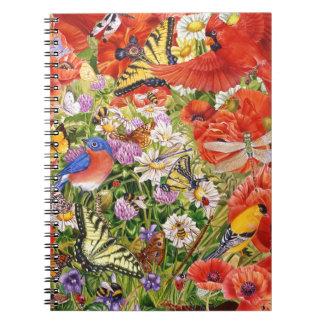 Birds, Butterflies and Bees Spiral Notebook