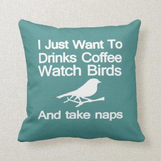 Birds Caffeine & Naps Cushion