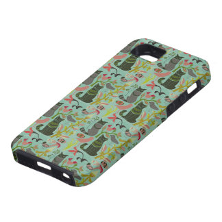 Birds Cats And Flowers Retro Small Pattern iPhone 5 Cover