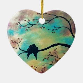 Birds Ceramic Heart Decoration