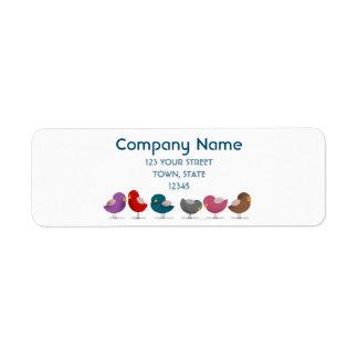 Birds Company Colorful Fashion Cute Cartoon Spring Return Address Label