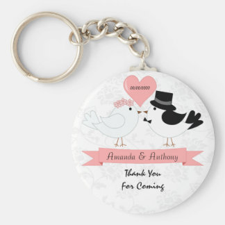 Birds couple thank you and welcome gifts basic round button key ring