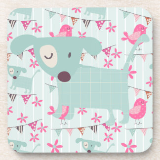Birds, Dogs, Banners, Flowers Coaster