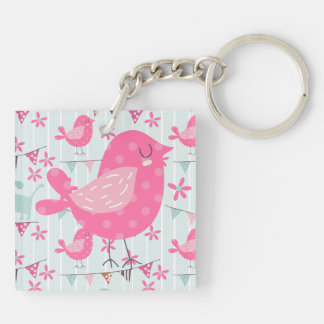 Birds, Dogs, Banners, Flowers Double-Sided Square Acrylic Key Ring