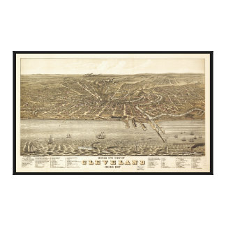 Birds eye view Map of Cleveland Ohio (1877) Gallery Wrapped Canvas