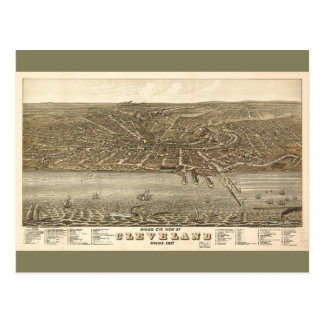Birds eye view Map of Cleveland Ohio (1877) Postcard