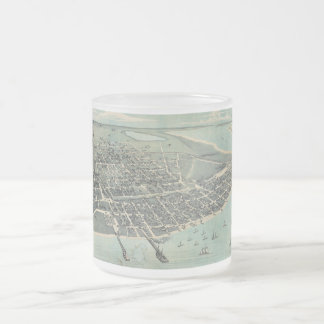 Bird's Eye View Map of Corpus Christi Texas 1887 Frosted Glass Coffee Mug