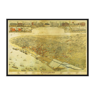 Bird's Eye View Map of Galveston Texas in 1885 Canvas Prints