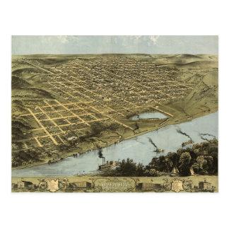 Bird's Eye View Map of Omaha Nebraska (1868) Postcard