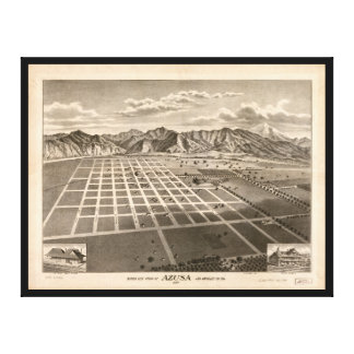 Bird's Eye View of Azusa, California (1887) Canvas Print