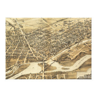 Bird's Eye View of Brantford Ontario Canada (1875) Canvas Print