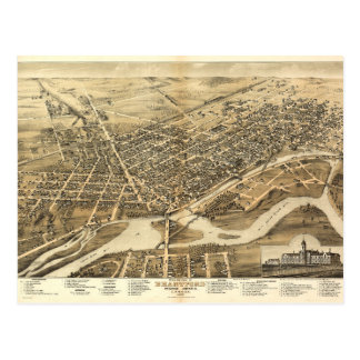 Bird's Eye View of Brantford Ontario Canada (1875) Postcard