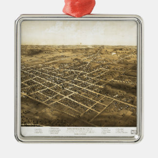 Bird's Eye View of Coldwater, Michigan (1868) Silver-Colored Square Decoration