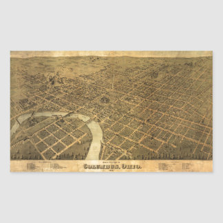 Birds eye view of Columbus, Ohio (1872) Rectangular Sticker