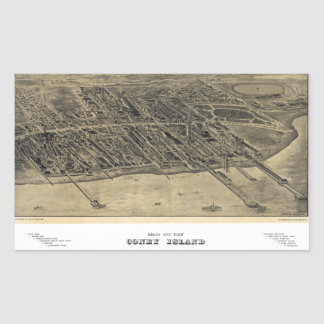 Bird's Eye View of Coney Island, New York (1906) Rectangular Sticker
