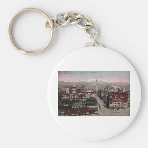 Bird's Eye View of Denver, CO in Early 1900's Keychain