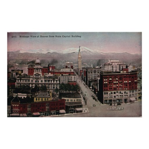 Bird's Eye View of Denver, CO in Early 1900's Print