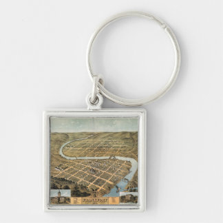 Bird's eye view of Frankfort, Kentucky (1871) Silver-Colored Square Key Ring