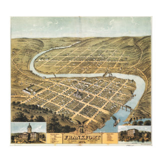 Bird's eye view of Frankfort, Kentucky (1871) Stretched Canvas Prints