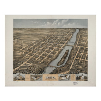 Bird's Eye View of Geneva, Illinois (1869) Poster