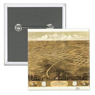 Bird's Eye View of Independence, Missouri (1868) 15 Cm Square Badge
