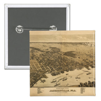 Birds eye view of Jacksonville Florida (1876) 15 Cm Square Badge