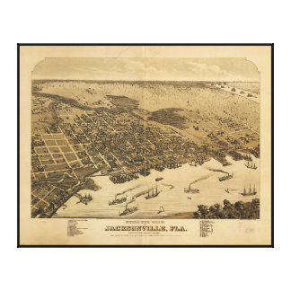 Birds eye view of Jacksonville Florida (1876) Gallery Wrapped Canvas