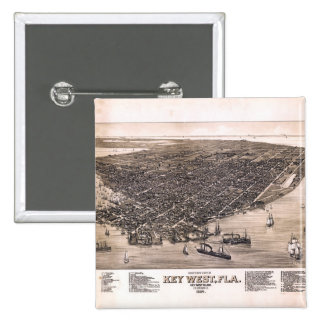 Bird's Eye View of Key West, Florida (1884) 15 Cm Square Badge