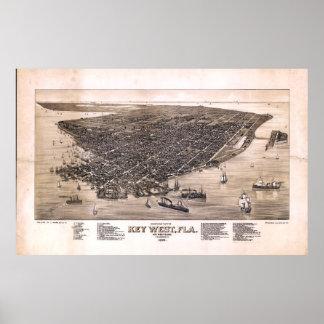 Bird's Eye View of Key West, Florida (1884) Poster