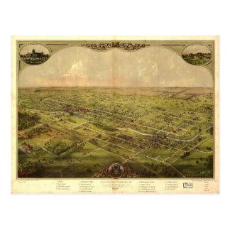 Bird's Eye View of Lansing, Michigan (1866) Postcard