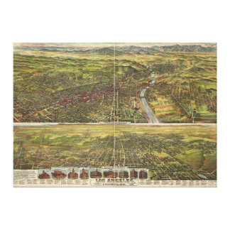 Bird's Eye View of Los Angeles California in 1894 Gallery Wrap Canvas