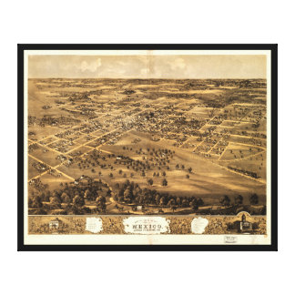 Bird's eye view of Mexico, Missouri (1869) Canvas Print