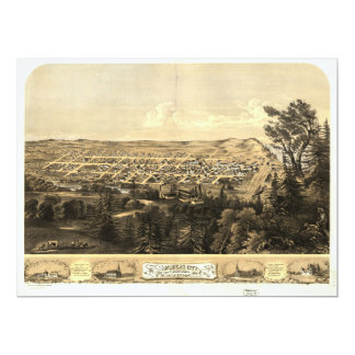 Bird's Eye View of Michigan City, Indiana (1869) Card