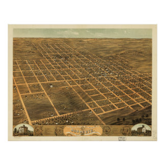 Bird's Eye View of Monmouth, Illinois (1869) Poster
