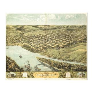 Bird's Eye View of Nebraska City, Nebraska (1868) Canvas Print