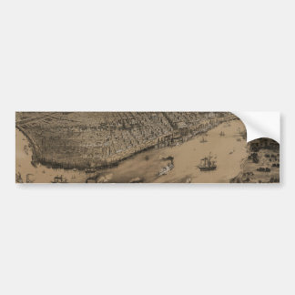 Birds' eye view of New Orleans from 1851 Car Bumper Sticker