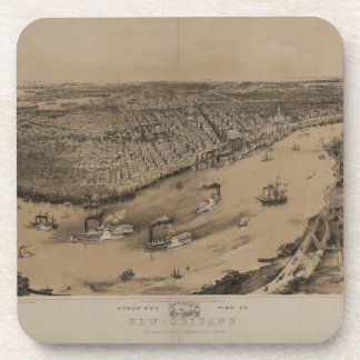 Birds' eye view of New Orleans from 1851 Beverage Coaster