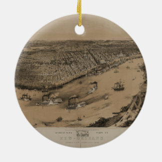 Birds' eye view of New Orleans from 1851 Ornaments