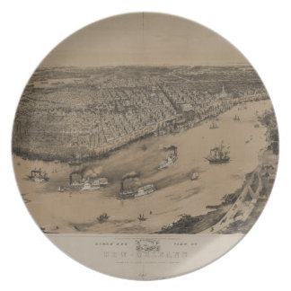 Birds' eye view of New Orleans from 1851 Plate