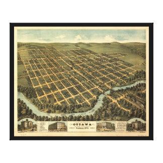 Bird's-eye view of Ottawa Kansas (1872) Canvas Print