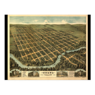 Bird's-eye view of Ottawa Kansas (1872) Postcard