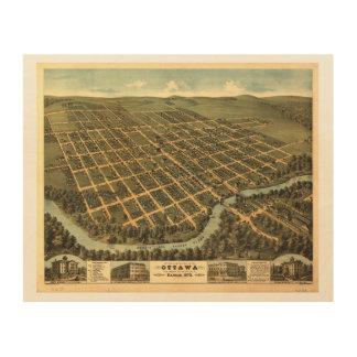 Bird's-eye view of Ottawa Kansas (1872) Wood Prints