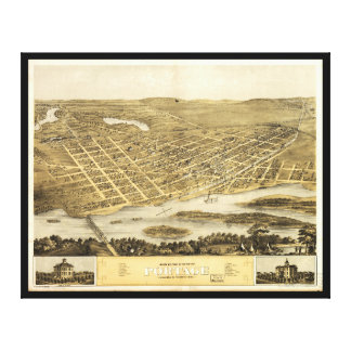 Bird's Eye View of Portage, Wisconsin (1868) Canvas Print