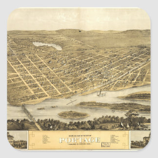 Bird's Eye View of Portage, Wisconsin (1868) Square Sticker