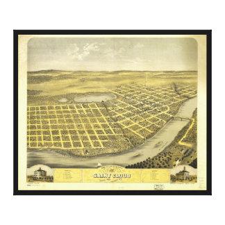 Bird's Eye View of Saint acCloud, Minnesota (1869) Canvas Print