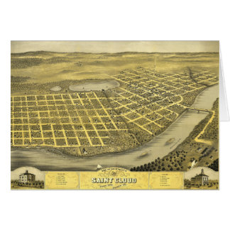 Bird's Eye View of Saint acCloud, Minnesota (1869) Card