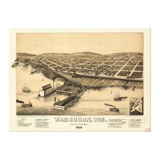 Birds eye view of Washburn, Wisconsin (1886) Canvas Print